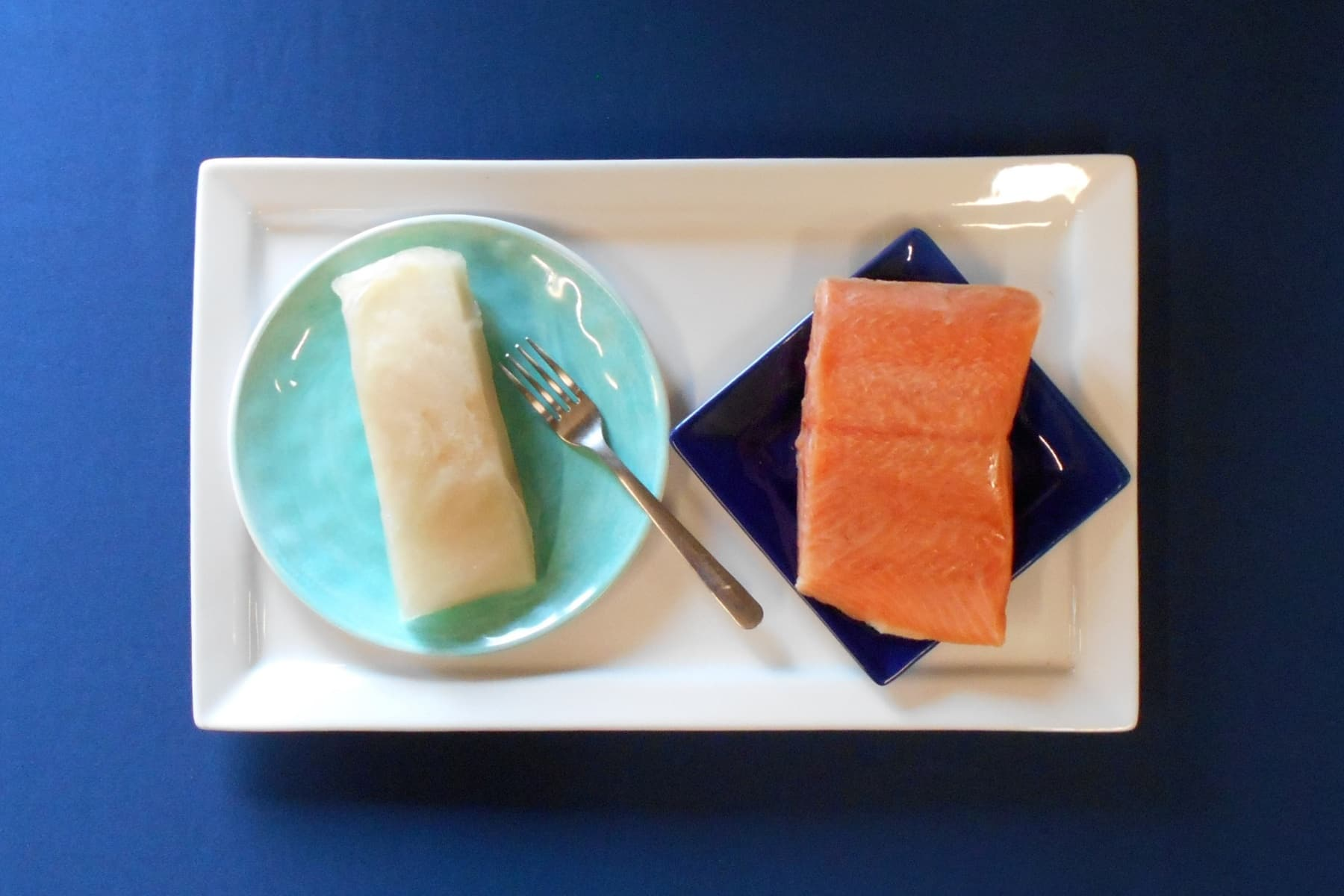 Fresh Wild Alaskan Halibut and Coho Salmon Combo - Plated