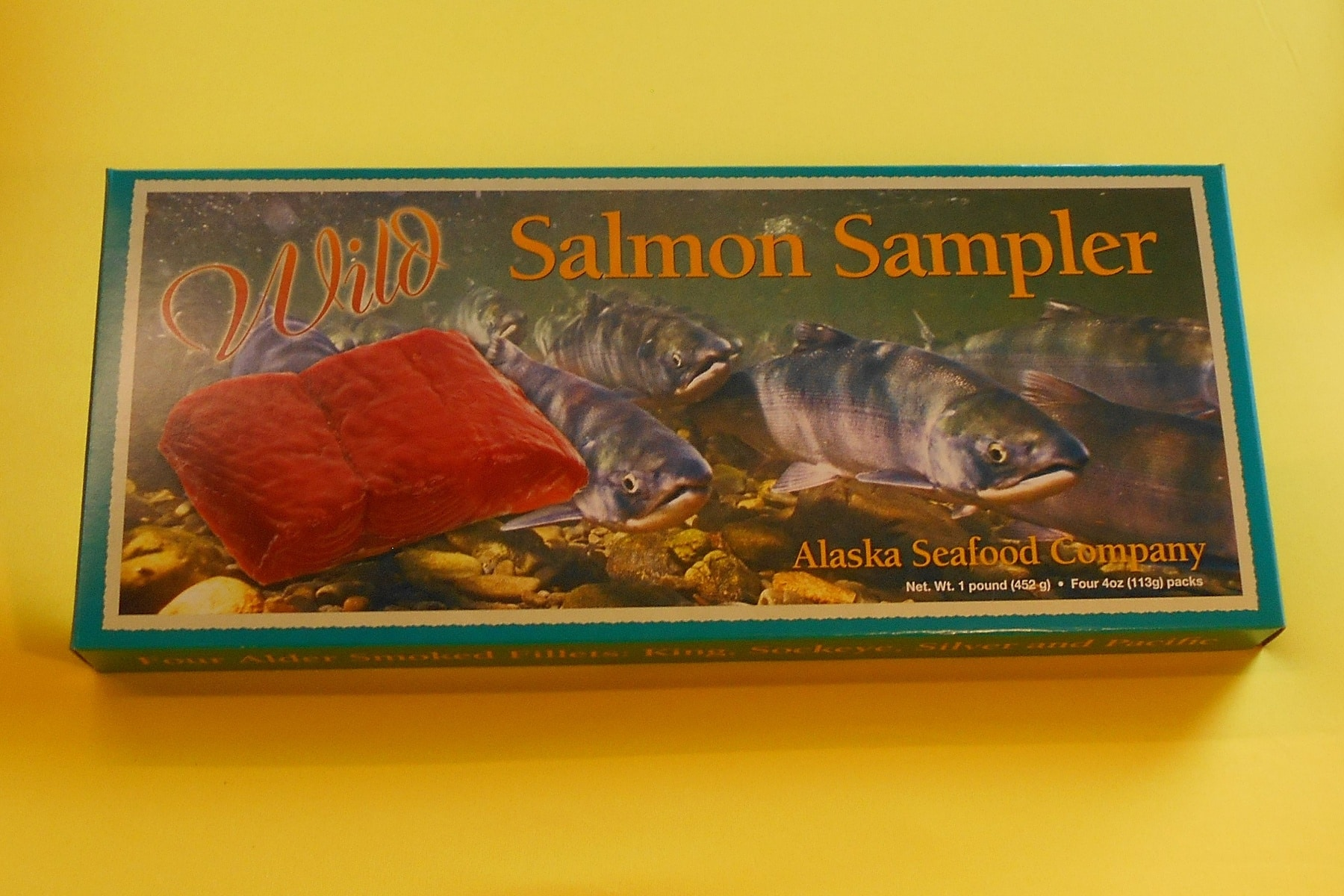 Salmon Sampler 4 oz of each species four 4 oz puches in gift box