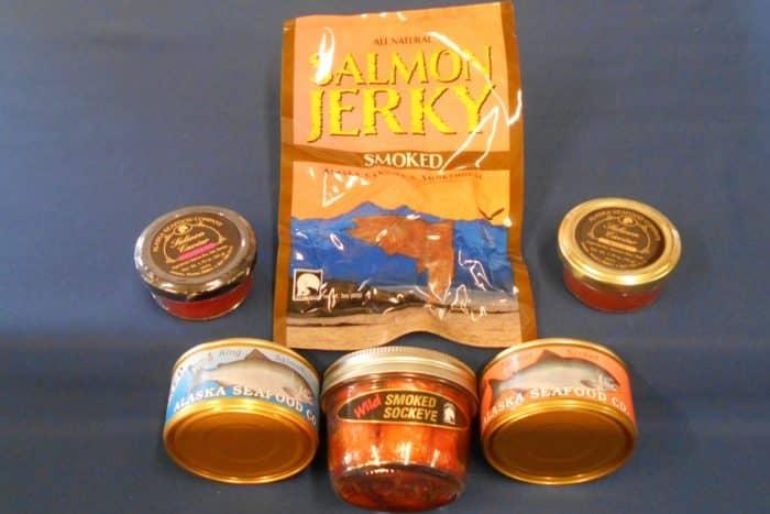Captains Choice: 1 three oz pack of Smoked Salmon Jerky, one 2 oz Wild Alaskan Salmon Caviar, one 2 oz Smoked Alaskan Salmon Caviar, one 6 oz can of Smoked King Salmon, one 6 oz can of Salmon Spread, and 1 6.5 oz Jar of Smoked Wild Alaskan Sockeye