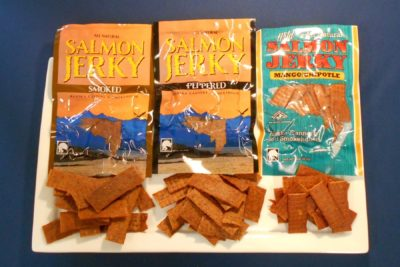 Salmon Jerky Combo Pack; 1 3 oz pack each of Smoked Salmon Jerky, Peppered Salmon Jerky, Mango Chipotle Salmon Jerky.