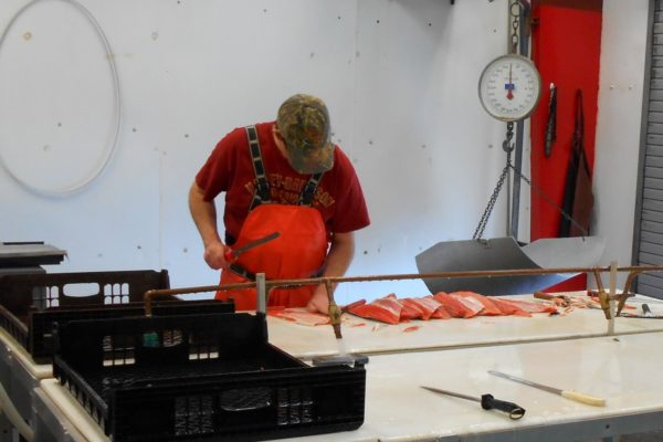 Joe Filleting Salmon For Retort Pouch Gift Boxes